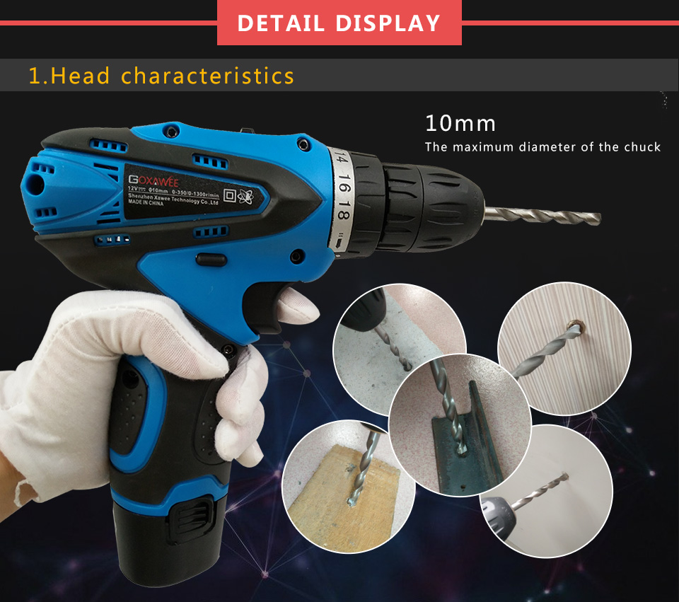 GOXAWEE 16.8V Electric Drill Lithium Cordless Drill Household Multi-function Electric Screwdriver Power Tool Electric Drill