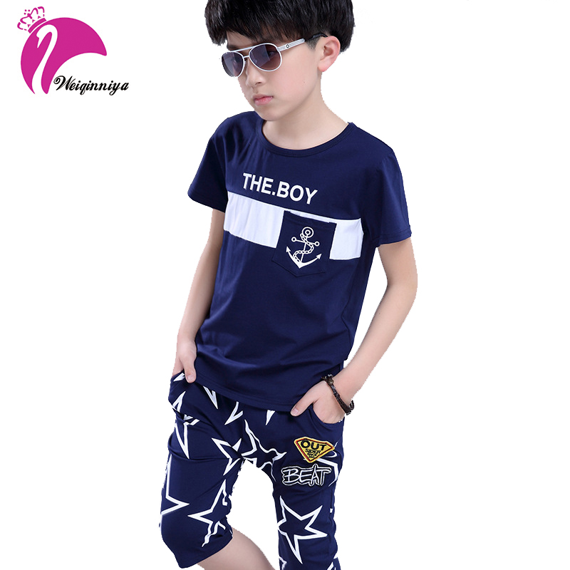 Summer 2017 Baby Boys Clothing Sets Children Fashion Letter Print Shirts+Short Pants 2 Pieces Suit O-Neck Kids Clothes For 6-15Y<br>
