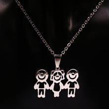 Mama Children Silver Color Stainless Steel Necklace Jewelry Love Necklaces Jewellery Best friend Necklace Women Kids N67122B(China)