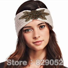Boho Shiny Star Knitted Wool Headband for Women Girls Beaded Flower Turban Headbands Headwrap Winter Ear Warmer Hair Accessories