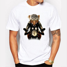 S-3XL 2017 Hot Sell locomotive Design Fashion Hiphop Brand Funny Creative Fox T shirt Novelty Tops Head Print Short Sleeve Tees(China)