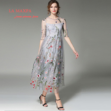 Women Runway Dresses Gorgeous Long Sleeves Mesh Flower Embroidery Elegant Dress Party Girls Retro Maxi Feminino Vestidos