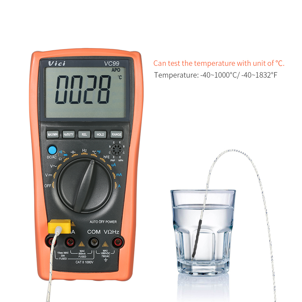 Vici Digital Multimeter Auto Range Voltmeter Ammeter DC AC Voltage Current Meter Capacitance Resistance Temperature Diode Tester<br>