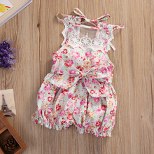 2PCS Baby Set Newborn Kids Baby Girls Clothes Summer Sleeveless Backless Lace Floral Jumpsuit Romper+Hat Baby Outfits Clothes(China)
