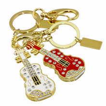 Metal instruments Electric violin Usb flash memory stick 2GB 4GB 8GB 16GB 32GB 64GB Usb flash drive disk Lovely Guitar key chain(China)