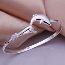 Fashion Womens Elegant Simple Single Line Dolphin Sliver Plated 925 sliver Bangle Bracelet Jewelry Ladies Accessories