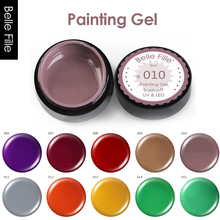 Belle Fille 5ml Soak off UV / LED Painting Gel 25 Solid Colors Nude Pink Gold Color For Nail Salon Painting Varnish Lacquer(China)