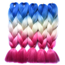 "Chorliss 24""(65cm)Jumbo Braids Ombre Braiding Hair Bundles Synthetic Crochet Hair Extensions Blue Yellow Red Crochet Braids 100g"