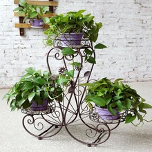 HLC 3-Tier Classic Plant Stand Metal Potted plant Stand Holds 3-Flower Pot Perfect for Home and Garden Decoration(China)