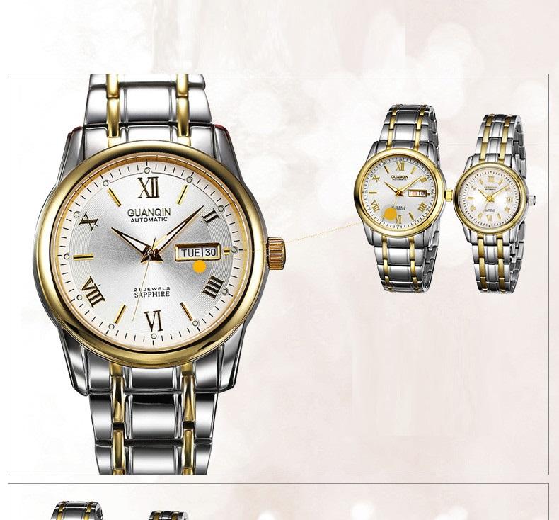 1 Pair GUANQIN Lovers Mechanical Watches Couple Automatic Watch Men Women Clock Auto Date Luminous Waterproof Brand Watch Men (16)