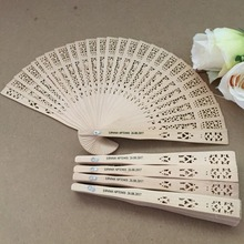 Free shipping 50pcs/lot Chinese fragrance wood fan wedding hand fan with personalized bride & groom's name and wedding date(China)