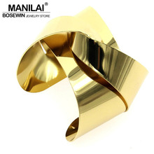 MANILAI Unique Design Warp Surface Alloy Opened Cuff Bangles Bracelets For Women Fashion Statement Jewelry Cuff Bracelet BL113(China)
