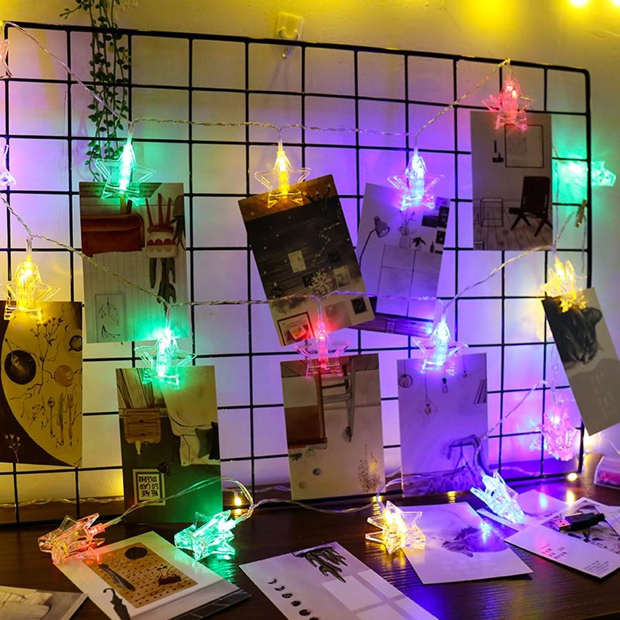 LED Star Garland String Lights 1.5M 3M 6M LED Card Photo Clip Light Wedding Party Christmas DIY Decoration 8
