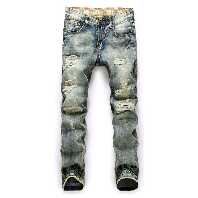 High quality mens jeans Casual straight hole jeans men balmai jeans men denim trousers biker jeans 953Одежда и ак�е��уары<br><br><br>Aliexpress