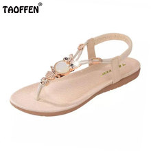 TAOFFEN bohemian beaded women flat sandals clip toe brand quality sexy sandals fashion ladies shoes size 36-42 WA0062