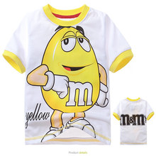 1pcs 2-7Yrs Children Boys Girls Cartoons Chocolate Short Sleeve T Shirts m&m Cotton Tops kids Baby Red Yellow Summer Clothing(China)