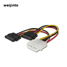 Serial ATA SATA 4 Pin IDE To 15 Pin 2 Sata Power cable Hard Drive Adapter Cable(China)