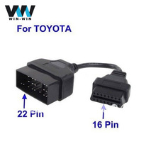 (10 pieces/lot)For Toyota 22 Pin to 16 Pin OBD OBD2 Diagnostic Adapter for TOYOTA 22pin to 16pin OBD1 to OBD2 Connect Cable
