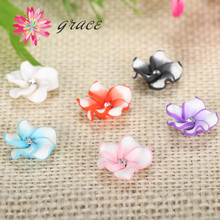 20pcs/lots 18mm Korean Style Flatback Hawaii Fimo Flower From Polymer Clay Plaksteen Mixed Fit Earring Graceful Hair Accessories