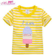 Mom's care Baby Girls Sweatshirt Kids Short Sleeve Tops 100% Cotton Clothes Girls T shirts Children Clothing Cartoon Tees 18M-6T(China)