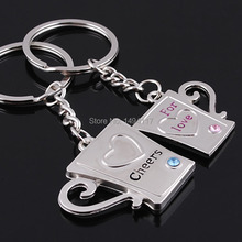 Valentine's Day  - Lovers key chain cup with love  style keyring     bag decoration couple festival gifts