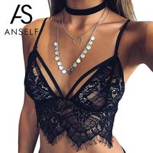 Anself Summer Women's Lace Floral Bralette Bralet Bra Bustier Crop Top Cami Tank Tops Black White Lace Short Tank Tops #2154