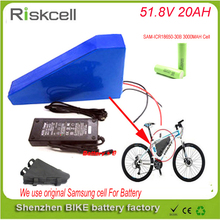 Hot sale 51.8v 20ah elactric bike battery with triangle type battery bag for 52v 20ah li ion battery pack For Samsung Cell