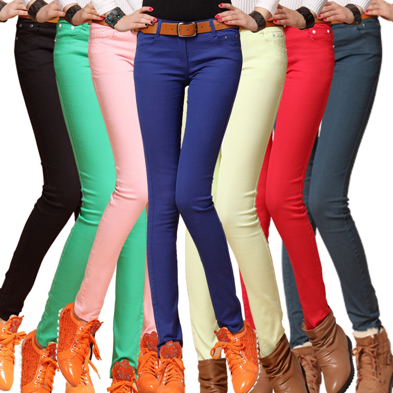 Free Shipping Women Sexy Candy Color Pencil Pants/Casual pants/Skinny Pants With Cotton Fashion Winter Trousers Fit Lady jeansОдежда и ак�е��уары<br><br><br>Aliexpress