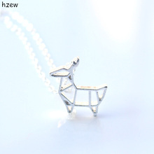 hzew Cute Animal Women Pendant Neckalce Jewelry Gold and Silver Origami Deer Necklace