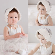 2016 Newborn Infant Toddler Girls Baby Flower Bowknot Lace Beanie Hat Bonnet Sun hats