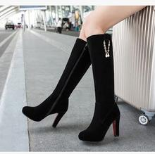 Women new fashion spring autumn high leg boots suede wild solid color high heels shoes large plus size 40-43