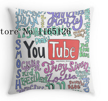 Hot Pillow cases YouTube drawing two sides printing Square Zippered Pillowcase free shipping(China)