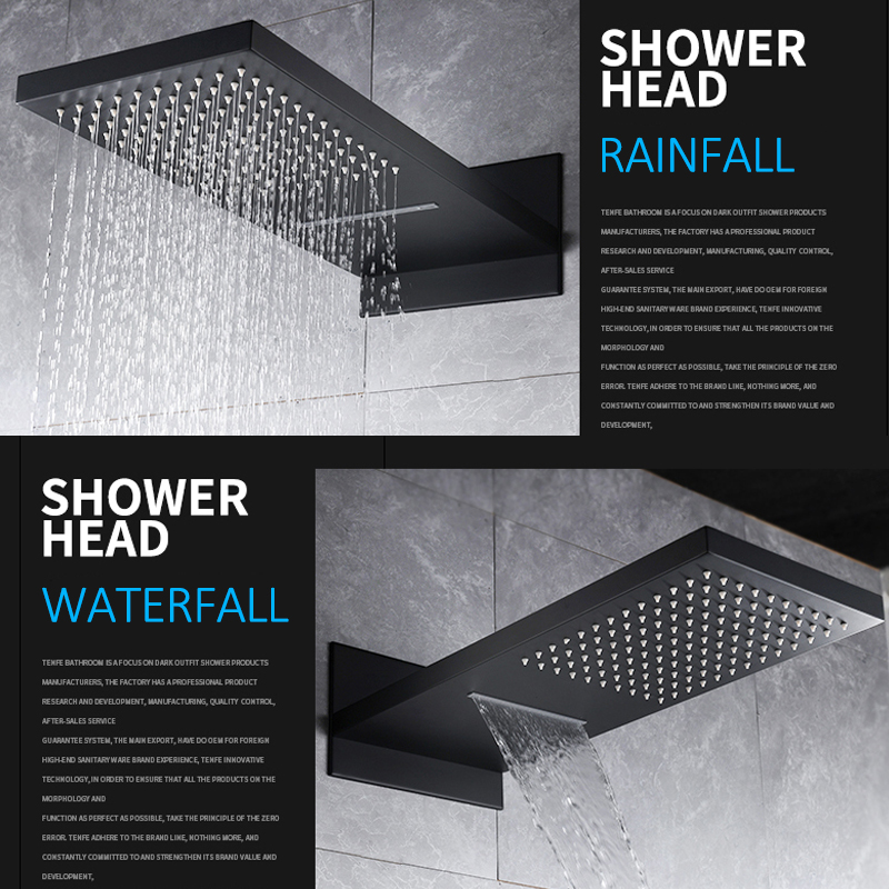 quyanre wanfan frap black rainfall waterfall shower head with digital temp display mixer tap faucet 3-way mixer bathroom shower faucet2