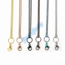 Mix 6 color 12pcs/lot 32 inches stainless steel  rolo chain living locket chains floating locket chain Necklace (1color=2pcs)