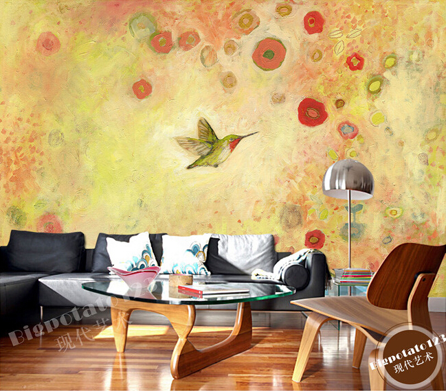 Custom 3D murals, lovely cartoon flowers and birds painting, living room sofa TV wall children bedroom wall paper,3D wallpaper<br>