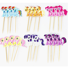48pcs/lot 6 Designs My little Pony Cupcake Topper Picks Cartoon Theme Birthday Party Decorations Kids Evnent Party Favors