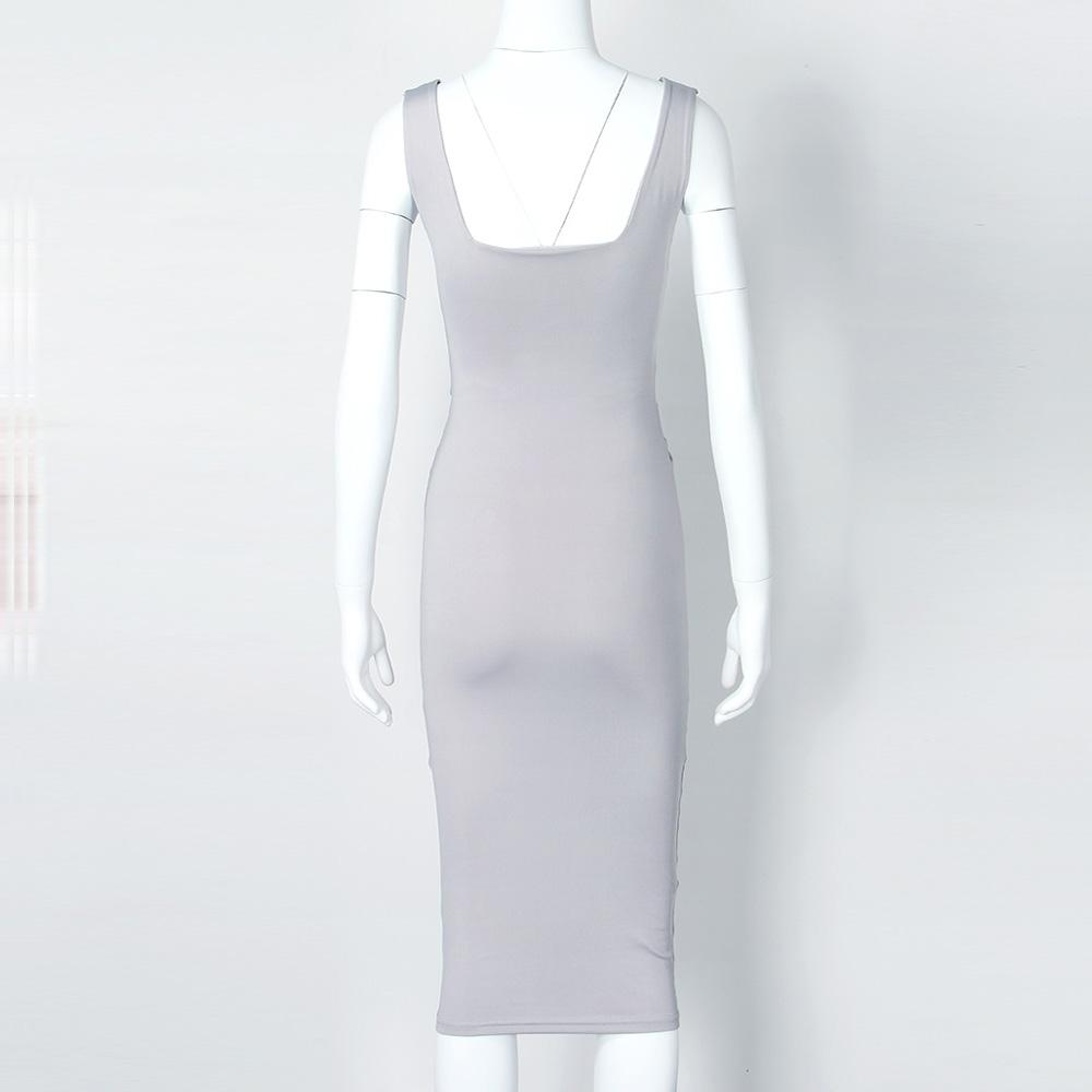 Women Summer Bodycon Dress 2018 Scoop Collar Sleeveless O-neck Sexy Midi Dresses Sheath Clubwear Femme Party Slim Dress GV575 6