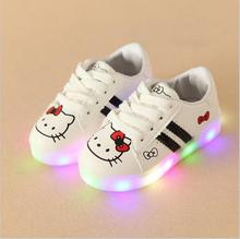 Girls hello kitty Shoes Sport Sneakers Spring Brand Led Cartoon Girls Princess Shoes Sneakers Children Shoes With Light 3 colors(China)