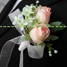 Fashion Artificial Rose Groom Boutonniere Corsage Flower in  Wedding Church Beach Decor Champage Pink  FL5361
