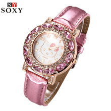 Hello Kitty Watches Kids Watches Luxury Rhinestone Children Watch Cute Cartoon Watch Baby Leather Strap Clock Gift montre enfant