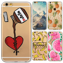 Napeyin Phone Case For Apple iPhone 6 6s 7 Plus 7Plus 5 5S SE Soft Silicon Transparent Cover Landscape Pineapple watermelon Case(China)
