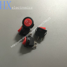 Free shipping 200PCS /LOT 15MM round red head KCD1-2 ship mini rocker switch 3A250V 2 feet 2 files