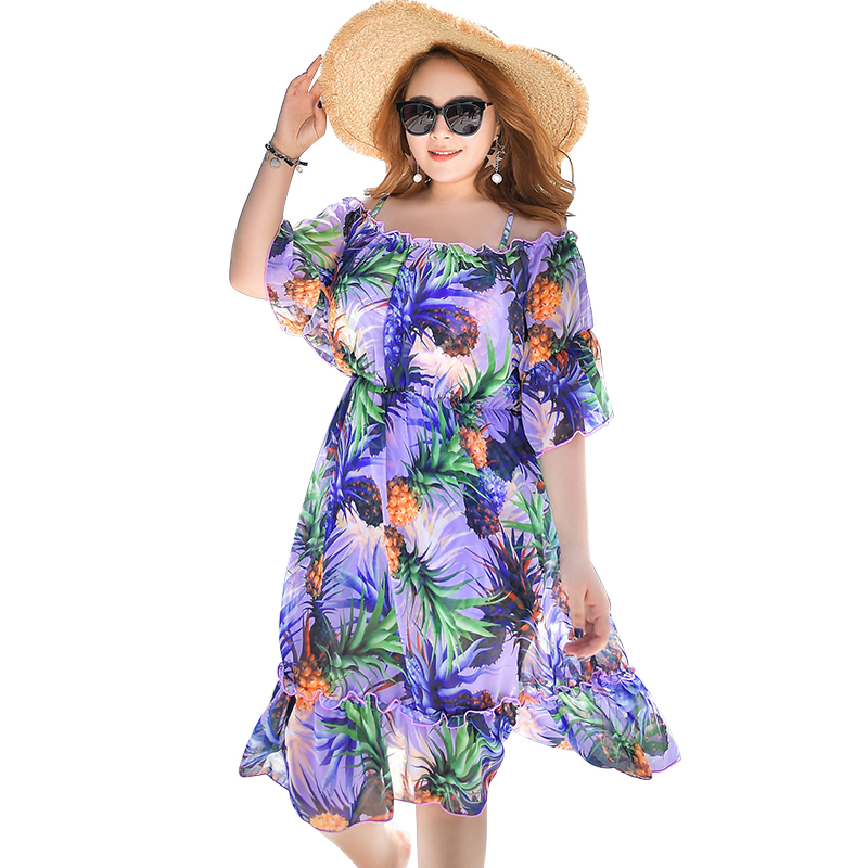 2017 New Summer Pineapple Print Sexy Women Plus Size Bikini Swimwear  Swimsuit with Loose Beach Dress 3 Pieces Bathing suit <br>