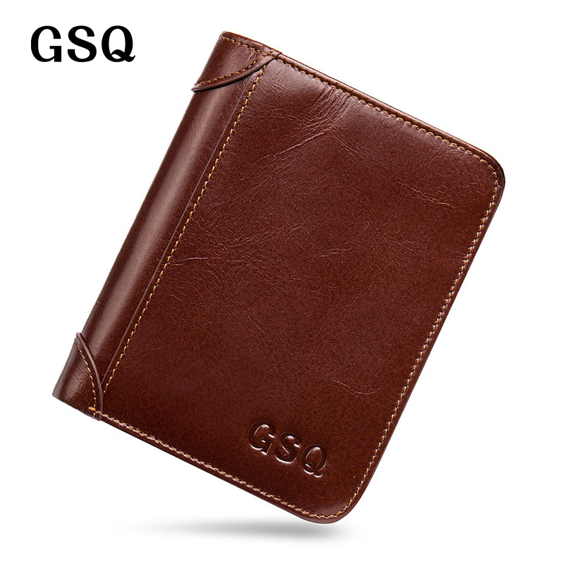 2017 GSQ Genuine Leather Men Wallet High Quality Cow Leather Luxury Brand Designer Short Wallet Male Money Clip Small Purse<br><br>Aliexpress