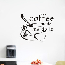 Coffee Make Me Do It Wall Stickers Coffee Cup With Love Heart Wall Art Restaurant Coffee Shop Wallpaper Vinyl Home Decoration