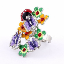 Epoxy Alloy Butterfly Ladybug Flower Ring Trendy Jewelry Anillo de Mariposas Mariquita Flores Bague Papillons Fleurs Coccinelles