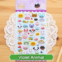 SST* 1 Sheet ' Violet animal ' Diary Decoration Kids Stickers 3D PVC Korea Stationery Kindergarten Baby Gift Children Toys +(China)