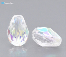 Doreen Box hot- Clear AB Color Crystal Glass Faceted Teardrop Beads 5500 11x8mm, sold per packet of 50(B10449)(China)