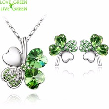 2017 Austrian Crystal rhinestones Clover 4 four Leaf  White Gold Plate green crystal Necklace Earrings Jewelry Sets 9554