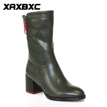 Buy XAXBXC Retro British Style Leather Brogues Oxfords Green Short Boot Women Shoes Thick Heel Pointed Toe Handmade Casual Lady Shoe for $46.20 in AliExpress store
